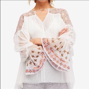 NWT Free People Joyride Sheer Embroidered Top SzM